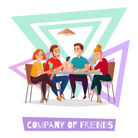Ilustración de Colored isolated restaurant pub visitors simple composition with company of friends description vector illustration - Imagen libre de derechos