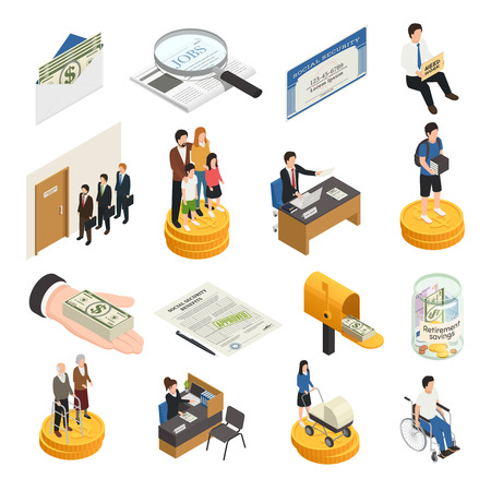 Illustration pour Social security isometric icons, unemployment, supports for families, students and single mothers, disability payments isolated vector illustration - image libre de droit