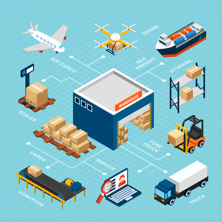 Illustration pour Colorful isometric logistics infographics with warehouse and equipment for storage and delivery on blue background 3d vector illustration - image libre de droit
