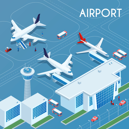 Ilustración de Airport outdoor blue background with technical transport and landing jet aircrafts on airfield isometric vector illustration - Imagen libre de derechos