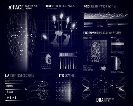Ilustración de Authorization verification biometric scanners white background with futuristic identification interface images fingerprints and infographic design elements vector illustration - Imagen libre de derechos