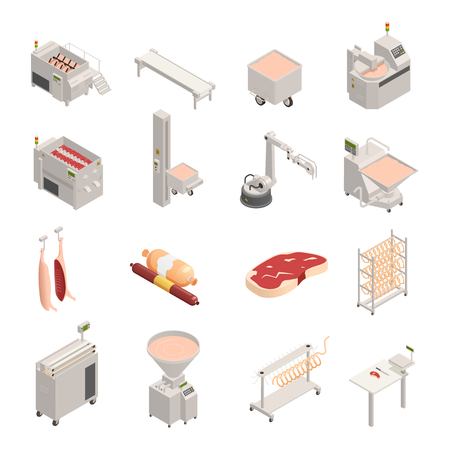 Illustration for Sausage factory set of isometric icons, fresh meat and finished products, automated equipment, isolated vector illustration  - Royalty Free Image