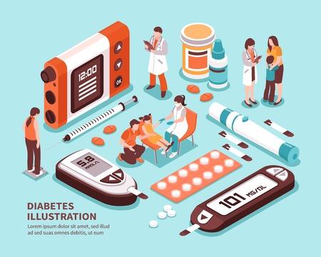 Ilustración de Diabetic patient life isometric composition with diagnosis sugar level tests weight control diet insulin injection vector illustration  - Imagen libre de derechos