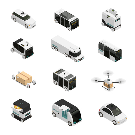 Ilustración de Autonomous vehicles isometric icons, driverless bus, taxi and truck, robotic delivery systems, isolated vector illustration - Imagen libre de derechos