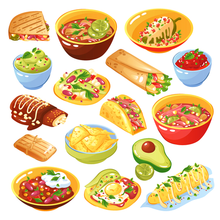Illustration pour Traditional mexican food dishes collection with tacos quesadilla tortilla chips avocado salsa isolated white background vector illustration  - image libre de droit
