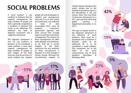 Ilustración de Social problems infographics layout with text content and percent proportion information flat vector illustration  - Imagen libre de derechos