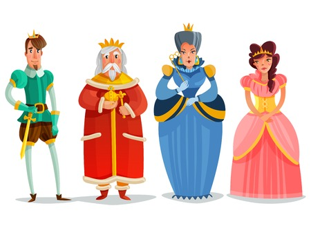Illustration pour Fairy persons cartoon set with king prince princesses queen figurines isolated on white background flat vector illustration - image libre de droit