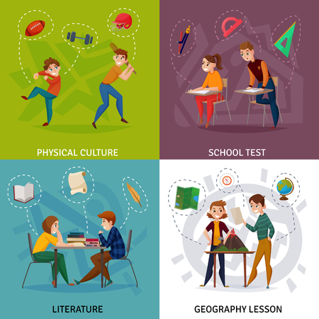 Illustration pour Students during school test, physical culture, literature and geography cartoon design concept isolated vector illustration - image libre de droit