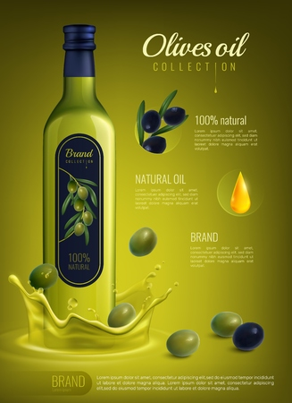 Ilustración de Realistic olive oil in glass bottle with label advertising composition on yellow green background vector illustration - Imagen libre de derechos