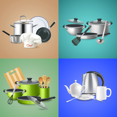 Realistic kitchen tools design concept cookwar .