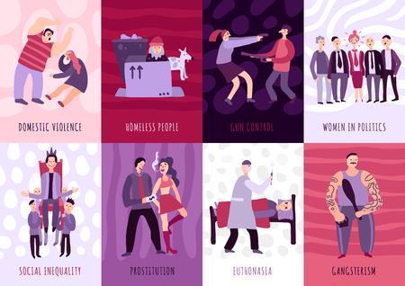 Social problems cards set illustrating gun control domestic violence homeless people euthanasia prostitution flat vector illustration
