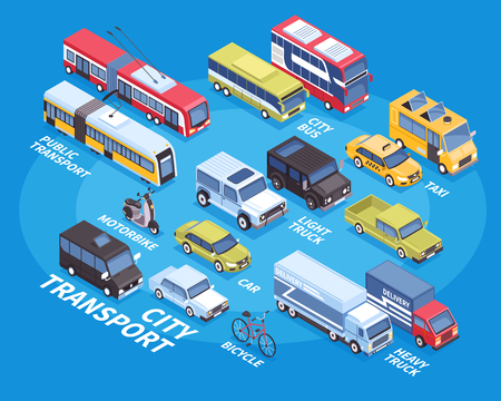 City transport isometric infographics with car truck bicycle taxi bus motorbike on blue background 3d vector illustration