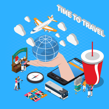Illustration for Time to travel  composition with plane compass souvenir shop globe on human palm isometric icons vector illustration - Royalty Free Image