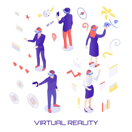Illustration pour Human characters in virtual world during chat, painting, gun shooting, analytic work with information isometric vector illustration - image libre de droit