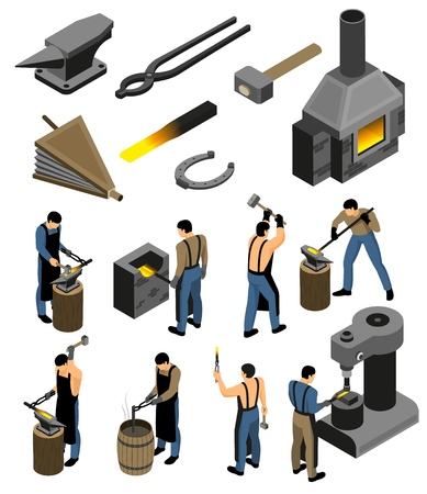 Ilustración de Isometric blacksmith set with isolated images of forging shop facilities and human character of iron forger vector illustration - Imagen libre de derechos