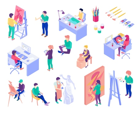 Illustration pour Creative professions artist, potter, graphic designer, sculpture master, set of isometric people isolated vector illustration - image libre de droit