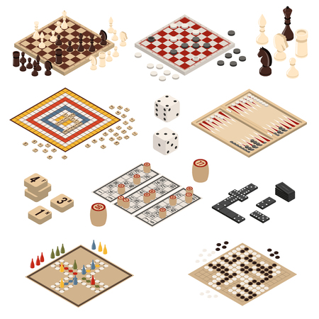 Illustration pour Isolated colored and isometric board games icon set backgammon mahjong chess checkers domino vector illustration - image libre de droit