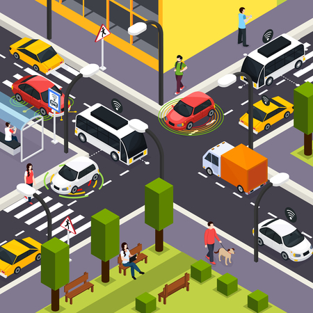 Illustration pour City crossroad isometric background with autonomous driverless cars on road and people walking on the street vector illustration - image libre de droit