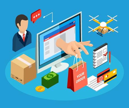 Illustration pour Logistics concept with online delivery service 3d isometric vector illustration - image libre de droit