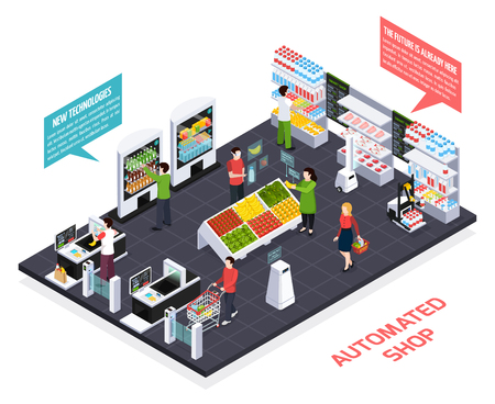Illustration for Automated shop isometric composition, virtual reality for goods information, robot equipment, smart shelves, security system vector illustration - Royalty Free Image