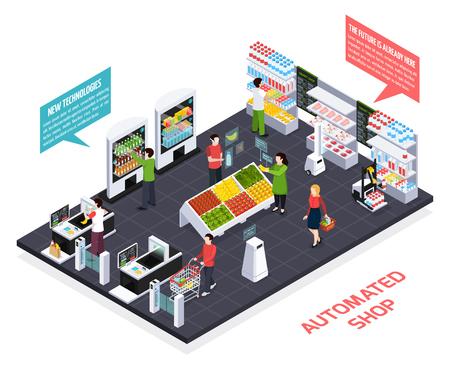 Ilustración de Automated shop isometric composition, virtual reality for goods information, robot equipment, smart shelves, security system vector illustration - Imagen libre de derechos