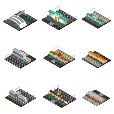 Illustration pour Railway station isometric set of modern and buildings futuristic and train museum under open sky isolated vector illustration - image libre de droit
