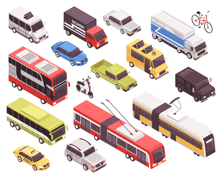Ilustración de Public transport including bus, trolley, tram, personal vehicles, taxi, trucks, set of isometric icons isolated vector illustration - Imagen libre de derechos