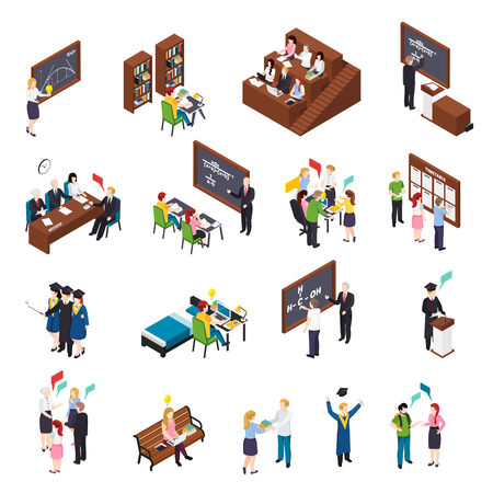 Illustration pour University students attending lectures workshops busy with projects in library graduating isometric icons set isolated vector illustration - image libre de droit