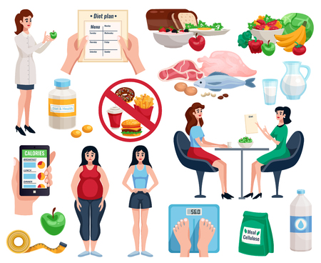 Ilustración de Diet decorative icons set with basic nutrition for good health and useful dishes for lose weight isolated vector illustration - Imagen libre de derechos