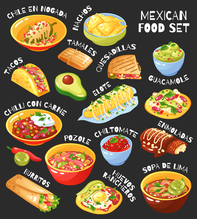 Traditional mexican food menu items set with tacos burritos chili con carne guacamole chalkboard background vector illustration