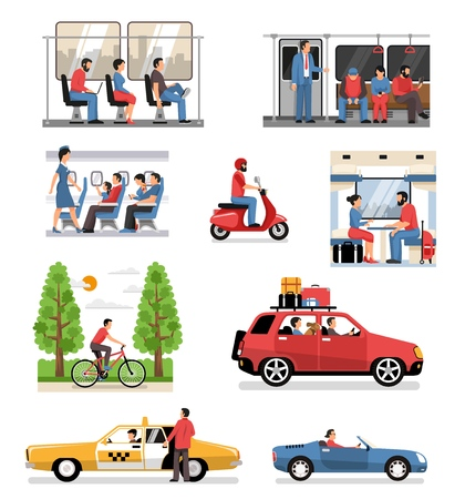Ilustración de Transportation vehicles with passengers drivers cyclist flat compositions set with people in train bus aircraft car vector illustration - Imagen libre de derechos