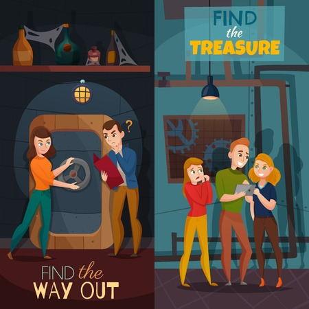 Illustration pour Quest game reality vertical cartoon banners with find way out and search of treasure isolated vector illustration - image libre de droit