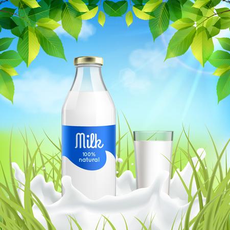 Ilustración de Natural dairy products realistic composition with bottle and full glass  milk in sunny meadow grass vector illustration - Imagen libre de derechos