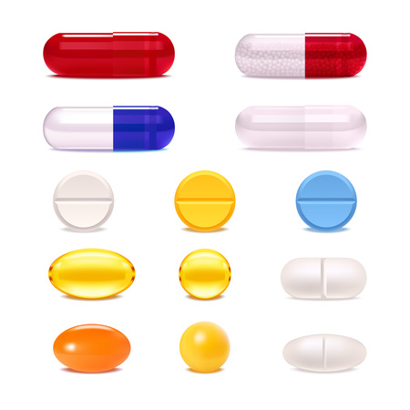 Illustration for Colorful medicine pills and capsules realistic set isolated on white background vector illustration - Royalty Free Image