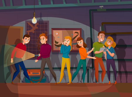 Illustration for Human characters during mission of quest reality in dark space cartoon vector illustration - Royalty Free Image
