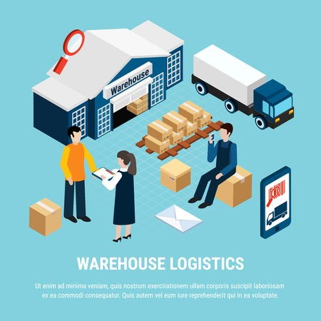 Ilustración de Warehouse logistics isometric concept with delivery workers on blue background 3d vector illustration - Imagen libre de derechos