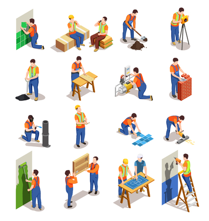 Ilustración de Construction workers with professional equipment during various building activity isometric people isolated vector illustration - Imagen libre de derechos