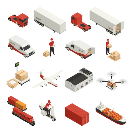 Ilustración de Cargo transportation isometric icons logistic delivery by various vehicles and drone technology isolated vector illustration - Imagen libre de derechos