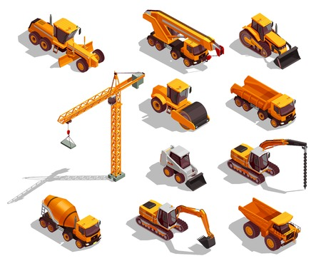 Ilustración de Black yellow construction machinery for road works and building set of isometric icons isolated vector illustration - Imagen libre de derechos