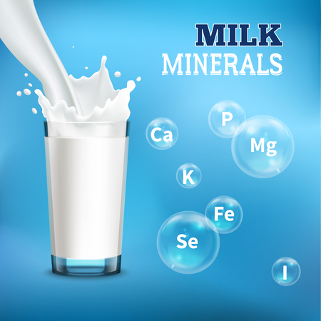 Illustration pour Milk drinking benefits realistic advertisement poster with pouring it into  glass and minerals symbols bubbles vector illustration - image libre de droit