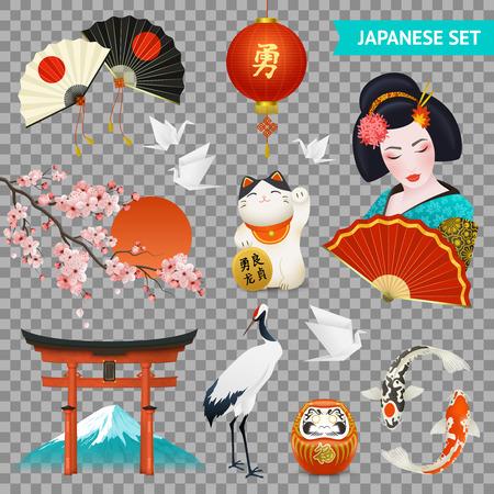 Illustration pour Japanese national symbols realistic set with cherry blossom geisha crane gate fuji mount transparent background vector illustration - image libre de droit
