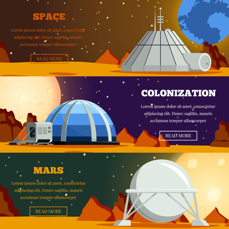 Illustration pour Set of flat horizontal banners with  planet colonization terraforming of mars and space exploration isolated vector illustration - image libre de droit