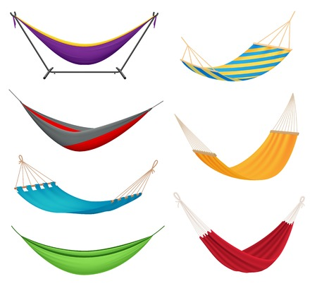 Illustration pour Different types colorful hanging fabric rope hammocks set with poolside attached to stands variety isolated vector illustration - image libre de droit