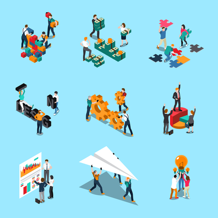 Illustration pour Teamwork isometric icons set with collaboration ideas and creativity symbols isolated vector illustration - image libre de droit