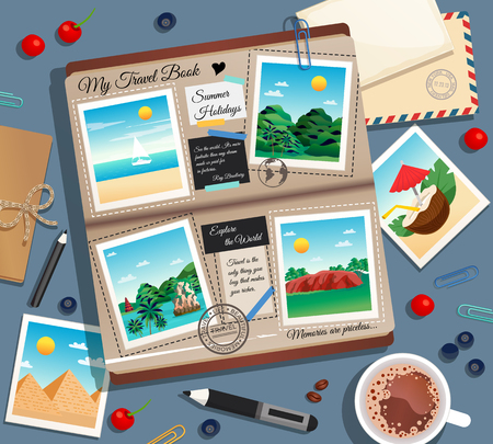 Illustration pour Travel memories abstract background with photographs photo album postal envelope and cup of coffee cartoon vector illustration - image libre de droit