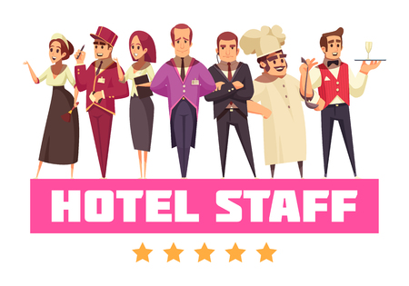 Illustration pour Hotel background composition with set of cartoon style flat human characters with hotel workers and text vector illustration - image libre de droit