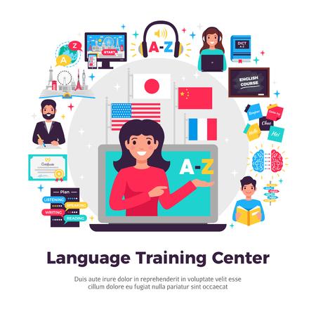 Foto de Foreign language training center advertisement flat composition with tutor online learning programs methods symbols apps vector illustration - Imagen libre de derechos