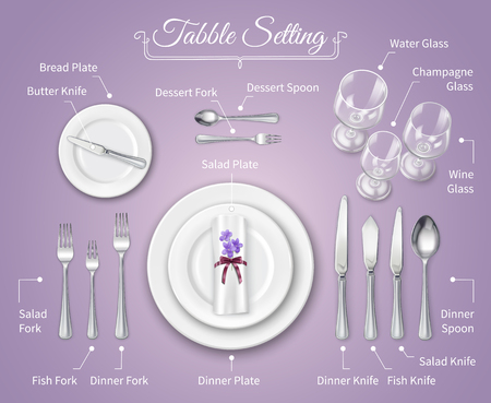 Formal dinner place setting infographics background with flatware on rose tablecloth realistic vector illustration