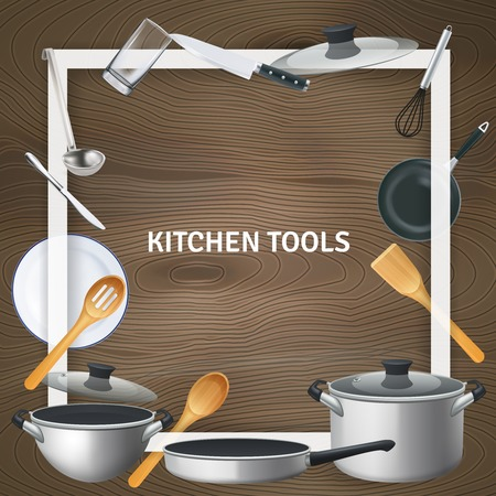 Illustration for White decorative square frame with realistic kitchen tools on wooden texture background vector illustration - Royalty Free Image