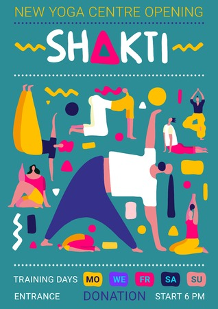 Illustration pour Yoga centre flat poster with people silhouettes training asanas vector illustration - image libre de droit
